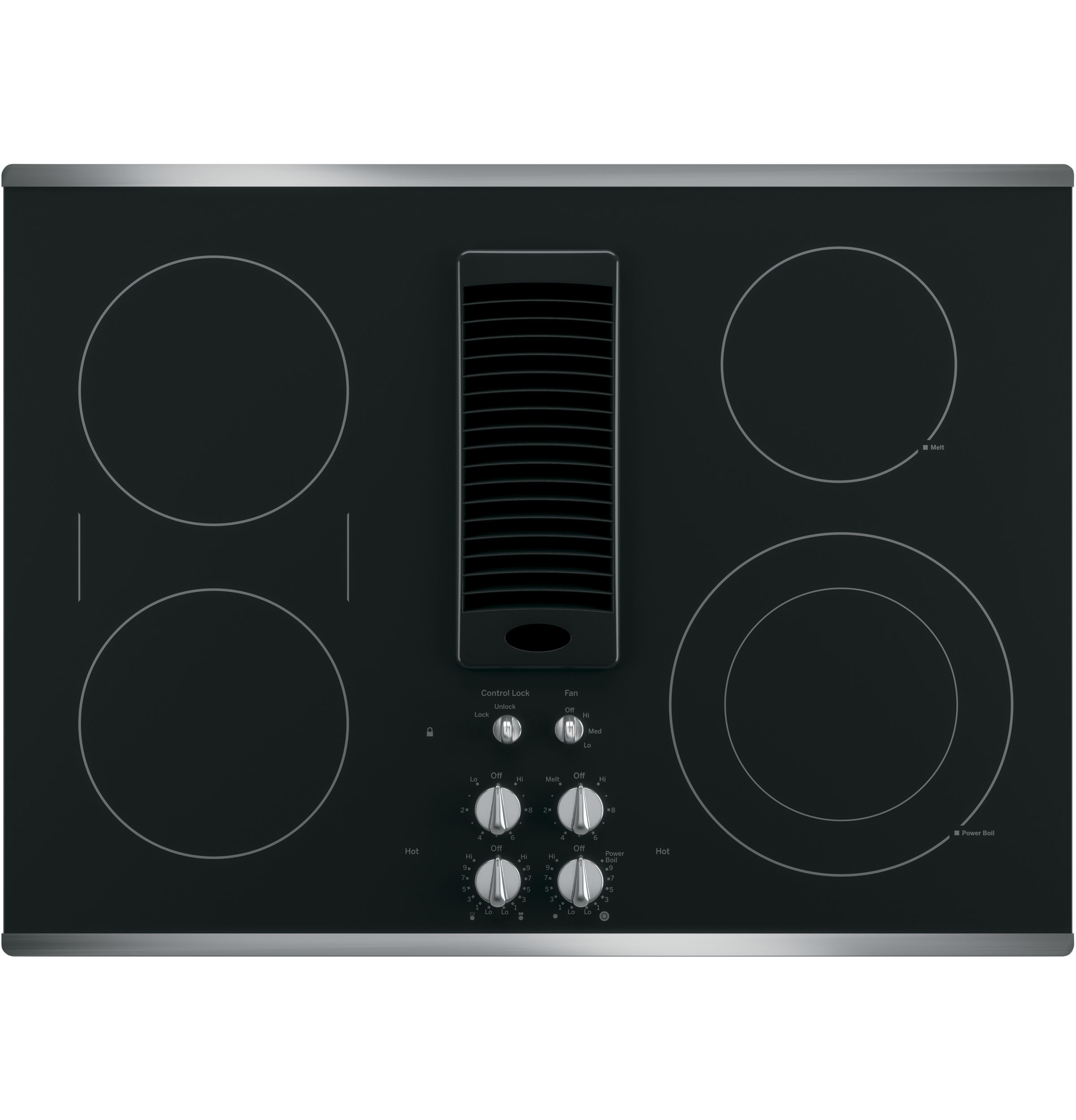 "GE Profile 30"" Built-In Electric Downdraft Cooktop Black Glass Top with Stainless Steel Trim"