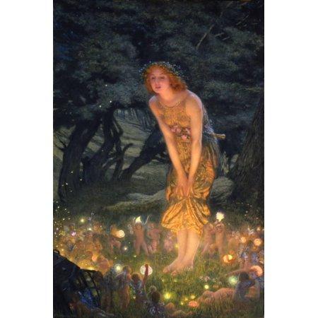 Fantasy Fairy Art (Midsummer Eve Traditional Figurative Women Fantasy Fairy Art Print Wall Art By Edward Robert Hughes)