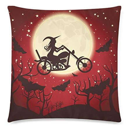 Halloween Night Moon (ZKGK Happy Halloween Moon Night Glitter Star Bat Home Decor Pillowcase 18 x 18 Inches,Witch on A Motorcycle Red Pillow Cover Case Shams)