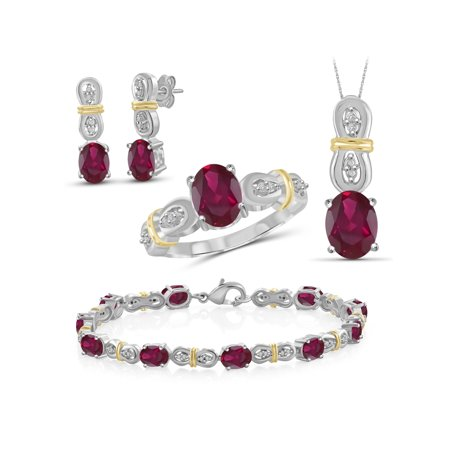 Silver Tone White Jewelry Set - 14 1/2 Carat T.G.W. Ruby And White Diamond Accent Two Tone Sterling Silver 4-Piece Jewelry set