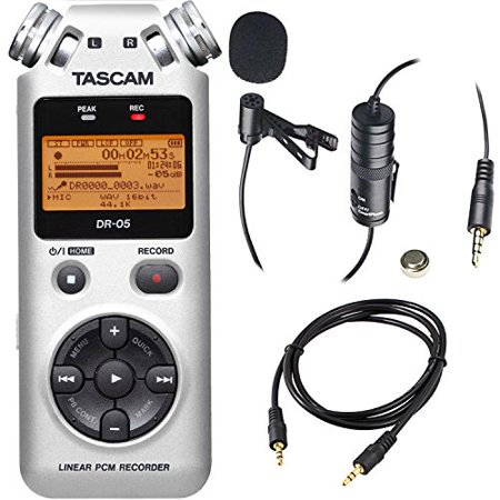 Tascam DR-05 Portable Handheld Digital Audio Recorder (Silver) with Deluxe accessory