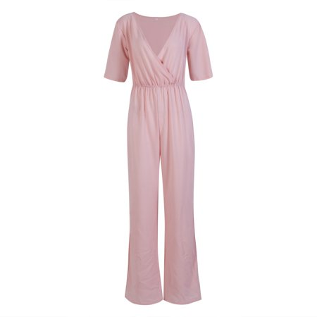 Summer sexy fashion design V-neck jumpsuit cool sense of fall trousers suit  party wide leg pants - image 2 of 5