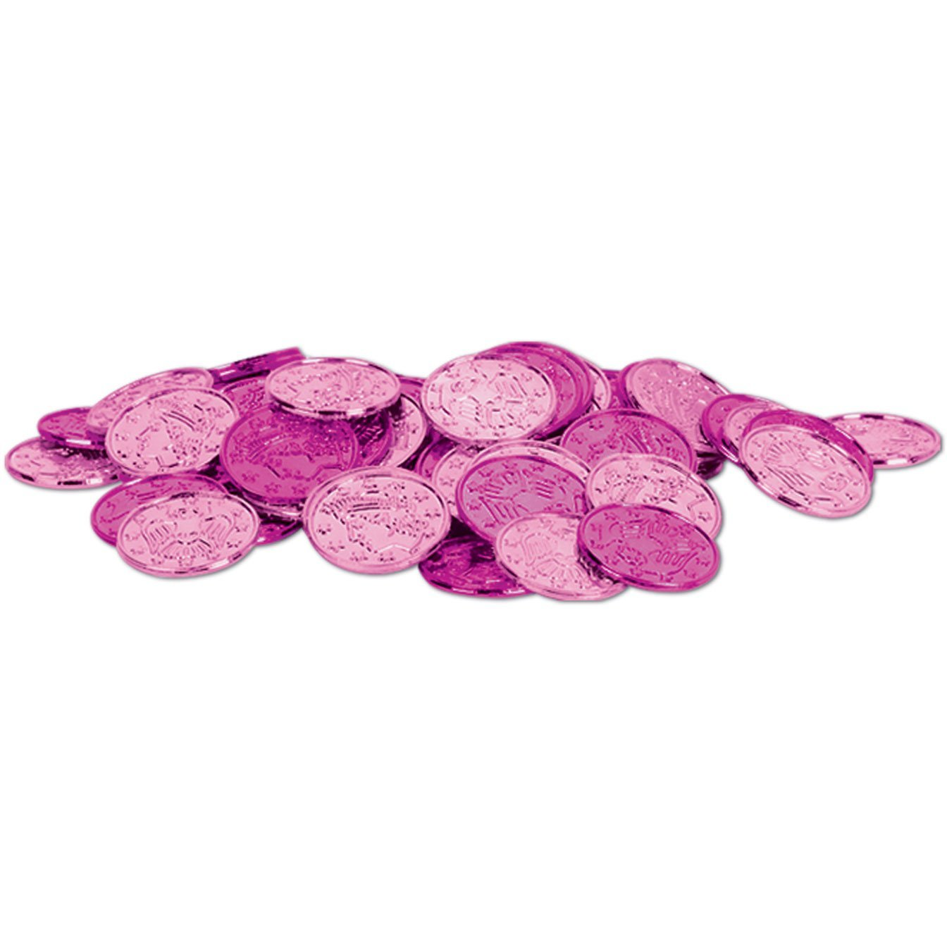 Plastic Coins (asstd cerise & pink) (100/Pkg), This item is a great value! By Beistle