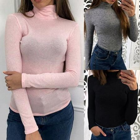 Fashion Womens Loose Tees Casual Long Sleeve T-Shirt Soft Cotton Shirts Tops Turtleneck T-Shirt Pink Size XL