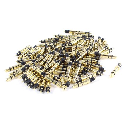 Goldstone Plugs - 100 Pcs Gold Tone 3 Pole Stereo Audio Male Connector Solder 3.5mm Plug