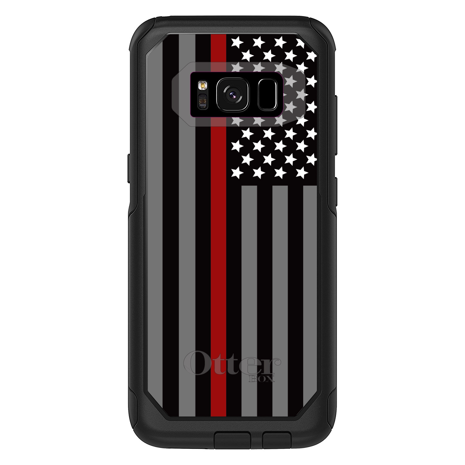 "DistinctInk™ Custom Black OtterBox Commuter Series Case for Samsung Galaxy S8 (5.8"" Screen) - Thin Red Line US Flag Fire Rescue"