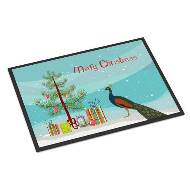 Carolines Treasures BB9292MAT Indian Peacock Peafowl Christmas Indoor or Outdoor Mat - 18 x 27 in. - image 1 of 1