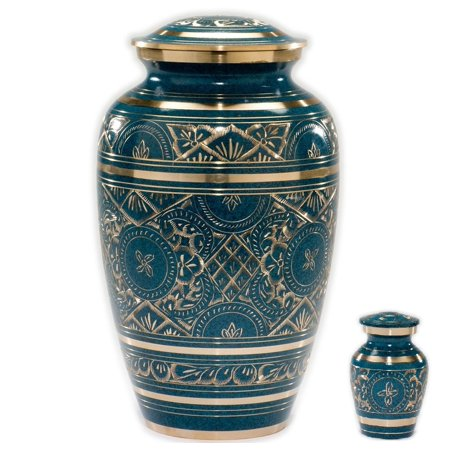 Caribbean Blue Cremation Urn - Handcrafted Classic Azure Urn for Ashes - Majestic Blue Funeral Urn with Beautiful Gold Etched Design - Large Urn with Free