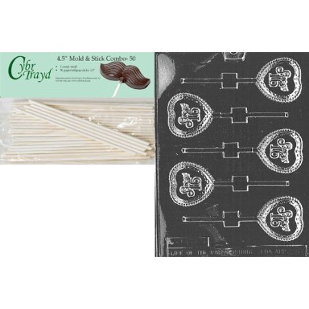 Cybrtrayd 45St50-K036 Sweet 16 Lolly Kids Chocolate Candy Mold with 50 Cybrtrayd 4.5-Inch Lollipop Sticks - Lolipop Kids Wear