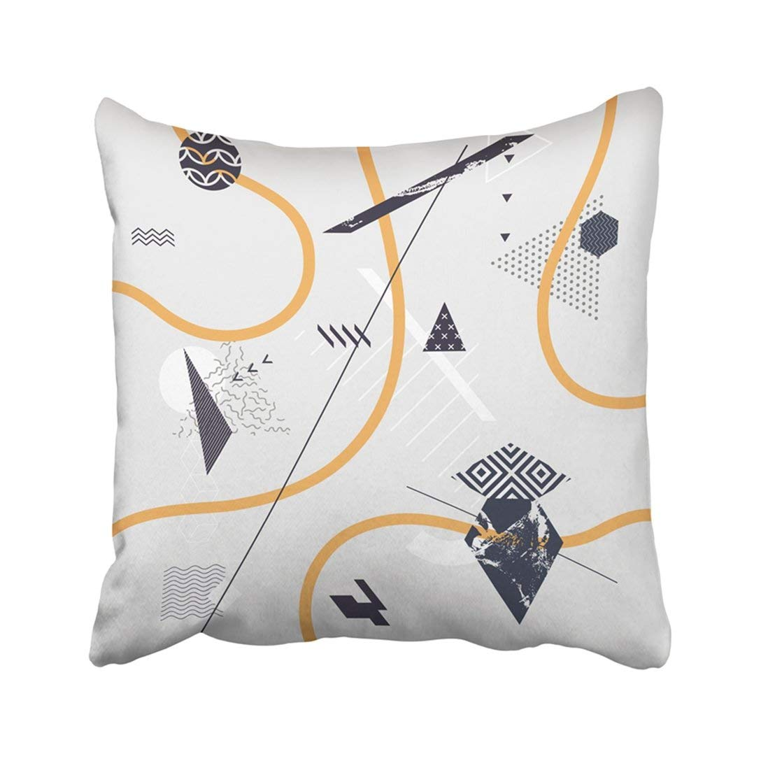BPBOP White Shape Abstract Of Geometric Yellow Line Composition Modern Flat Wavy Advertise Pillowcase Throw Pillow Cover Case 16x16 inches