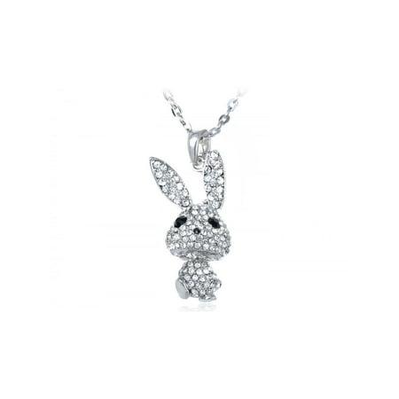 Silvery Tone Crystal Rhinestone Bobble Anime Bunny Rabbit Pendant Necklace