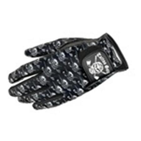 Tattoo Golf A035-ML Ladies Cabretta Leather Skull Pattern Golf Glove - Black - Left Hand - (Leather Tattoo)