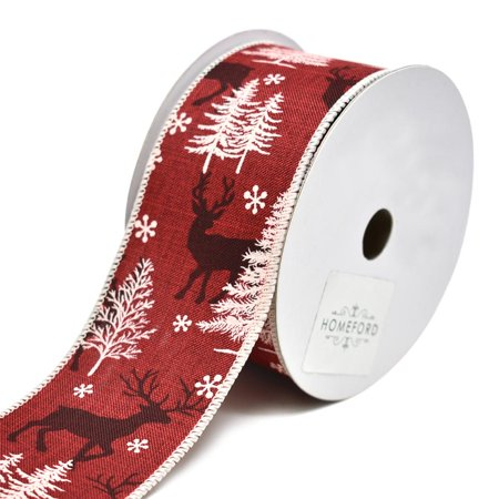 Winter Forest Burlap Wired Printed Christmas Ribbon, Red, 2-1/2-Inch, 10-Yard (Firefly Winter)