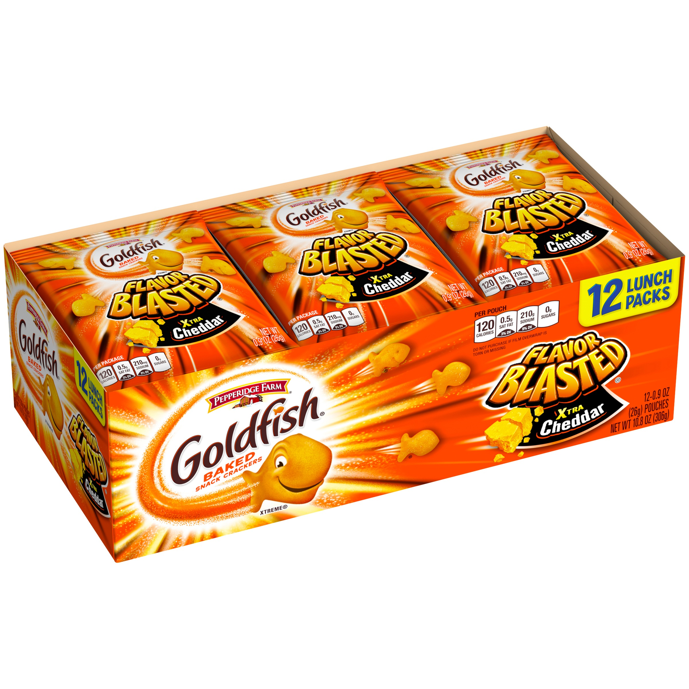 Goldfish Flavor Blasted Xtra Cheddar Baked Snack Crackers 12-0.9 oz. Pouches by Pepperidge Farm inc.