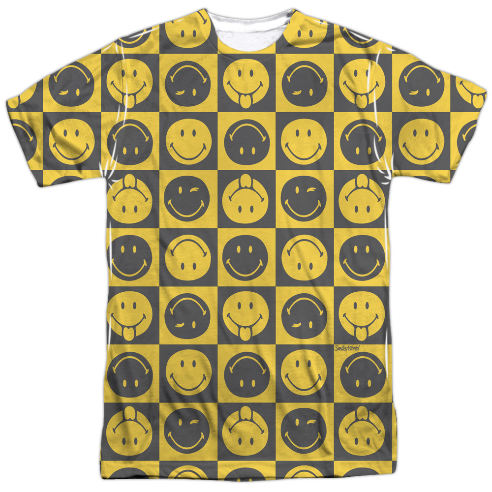 Smiley World Checkerboard Smiley Mens Sublimation Shirt