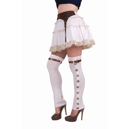 Women's Deluxe White and Brown  Steampunk Cowboy Costume Boot Tops Spats - Costume White Boots