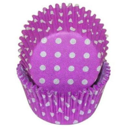 Purple & White Polka Dot - Baking Cupcake Liners - 50 Count - Purple Polka Dot Cupcake Liners