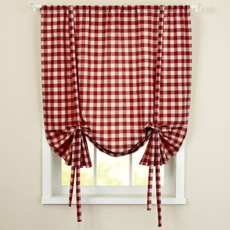 Buffalo Check Woven Curtain Decorative Tie Up Shade (Woven Chalk)