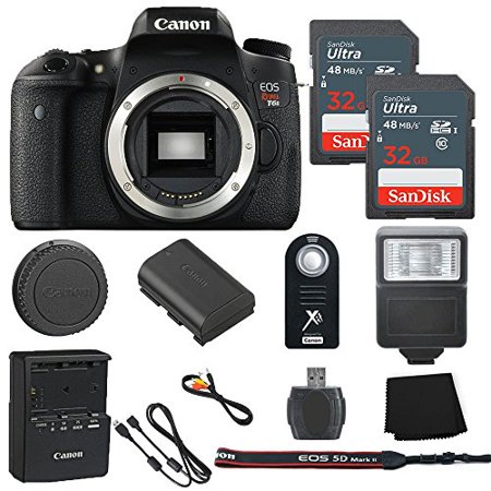 Canon EOS Rebel T6s 24.2MP Digital SLR Camera Body Only + 2 32GB Sandisk Ultra SD Cards + Slave Flash + Wireless Shutter Remote+ Memory Card Reader + Cleaning Cloth - International Model (Wireless Flash Card)