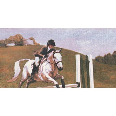 """Polo Horse Riding Retro Wallpaper Border Vintage Design, Roll 15' x 6"""" - image 3 de 3"""