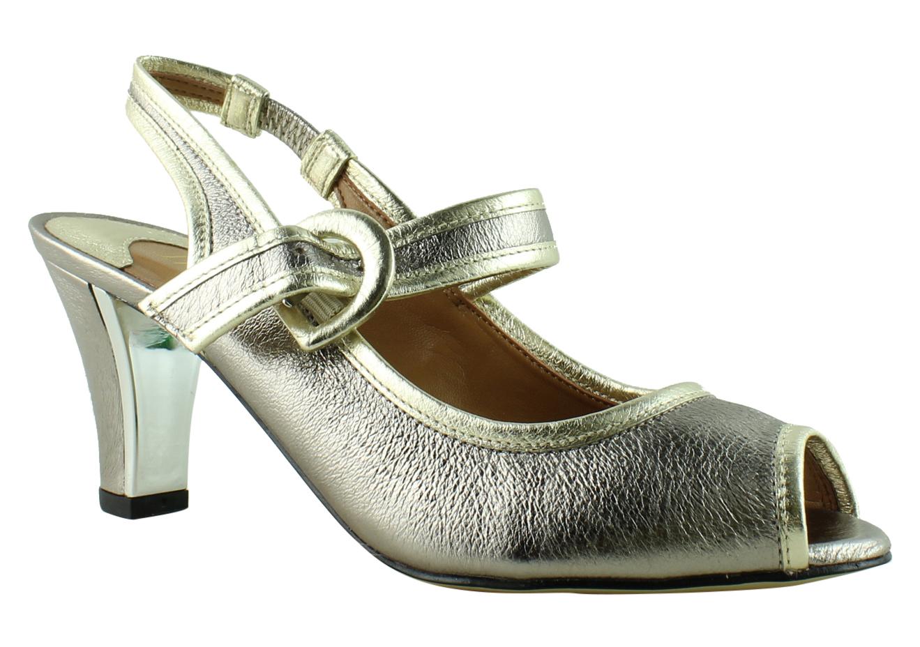 New J. Renee Womens Gold Ankle Strap Heels Size 7.5 Narrow (AA, N) by J. Renee