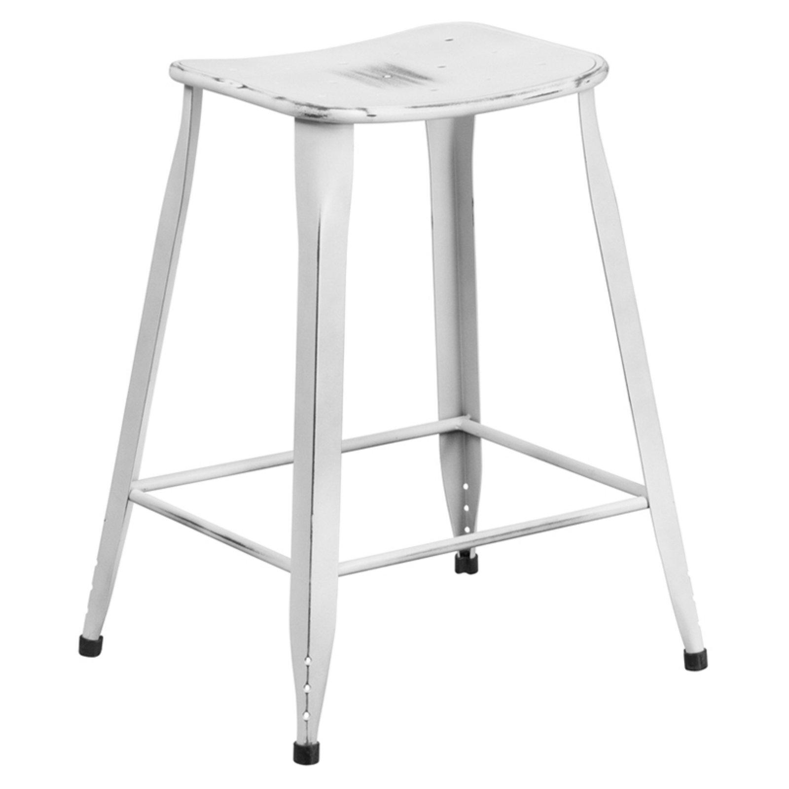 Flash Furniture 24 In High Distressed Metal Indooroutdoor Counter