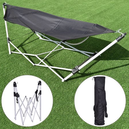 Costway Black Portable Folding Hammock Lounge Camping Bed