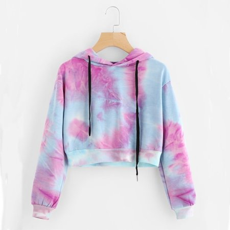 Women Autumn Winter Water Color Hoodies Multicolor Long Sleeve Hooded Cropped Sweatshirt Drawstring Fashion Pullover Tie Dye Jumper Tops (Crop Tops For Winter)