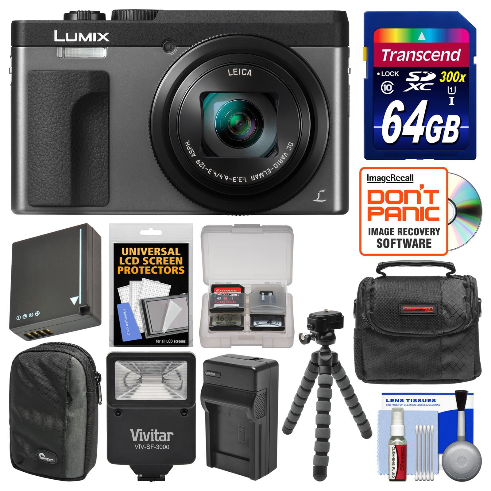 Panasonic Lumix DC-ZS70 4K Wi-Fi Digital Camera (Black) with 64GB Card + Case + Flash + Battery + Charger + Tripod + Kit