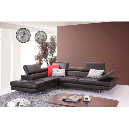 J&M A761 Coffe Full Top Grain Leather Italian Sectional Sofa Modern Left
