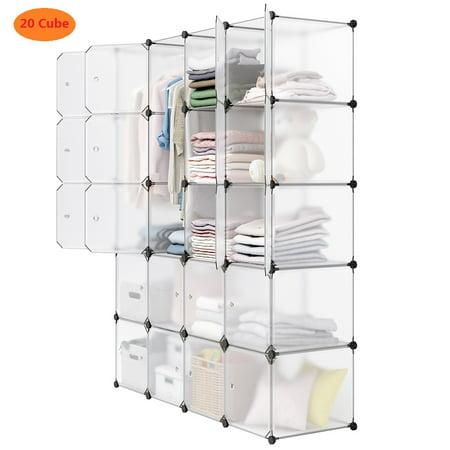 Langria 20 Cube Wire Storage Shelves Diy Modular Organizer Transparent