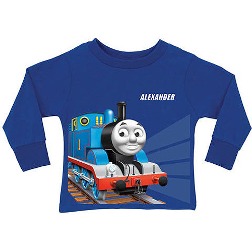 Personalized Thomas & Friends Tracks Boys' Blue Long Sleeve Tee