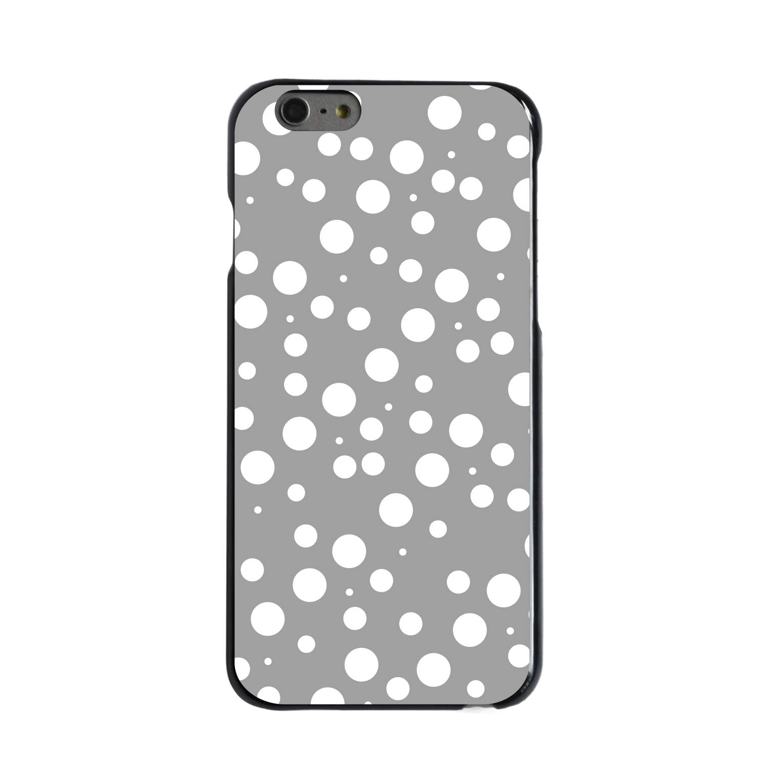 "CUSTOM Black Hard Plastic Snap-On Case for Apple iPhone 6 / 6S (4.7"" Screen) - Silver White Bubbles Polka Dots"