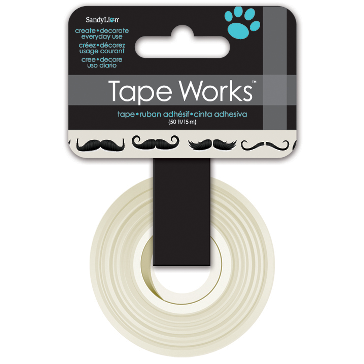 Tape Works Tape .625 Inch X 50ft-Mustaches, Black & White