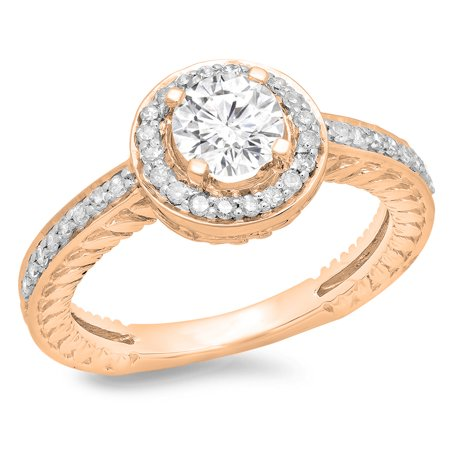 1.00 Carat (ctw) 10K Rose Gold Round Cut Diamond Ladies Bridal Vintage Halo Style Engagement Ring 1 CT
