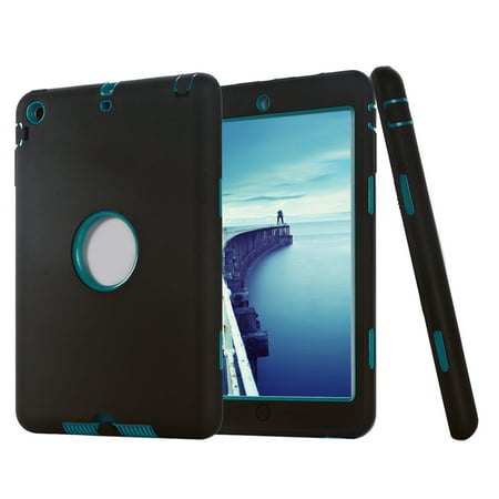 TKOOFN 3 In 1 Full Protection Armor Protective Anti-slip Soft Silicone Hybrid Shockproof Case Cover For iPad Mini