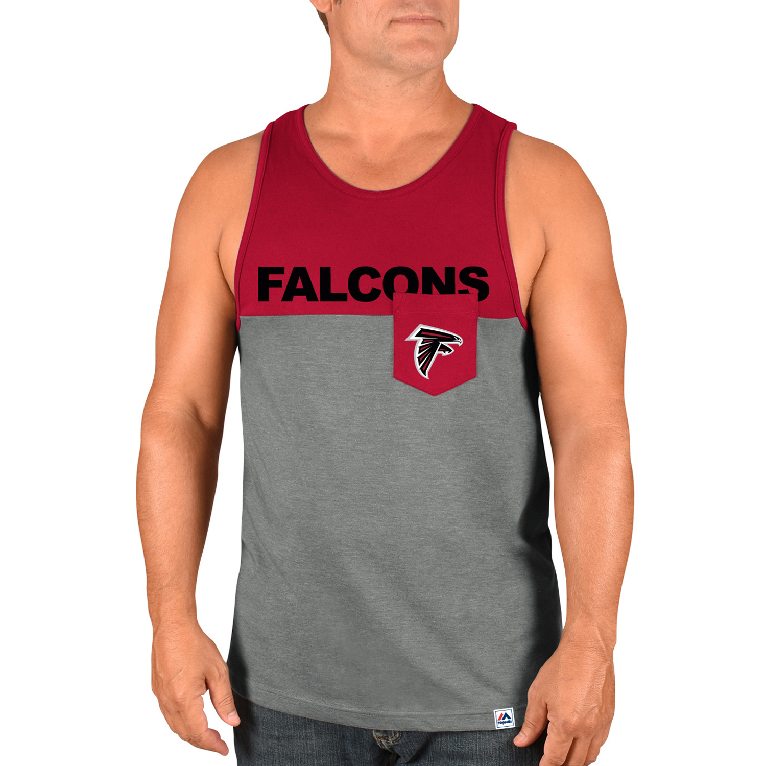 Atlanta Falcons Majestic Throw the Towel Tank Top - Heathered Gray/Red - XXL