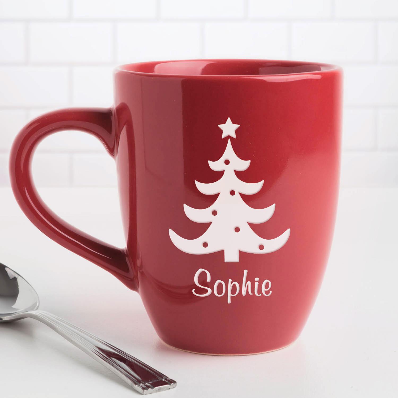 Personalized Christmas Tree Red 14.5 oz Bistro Coffee Mug