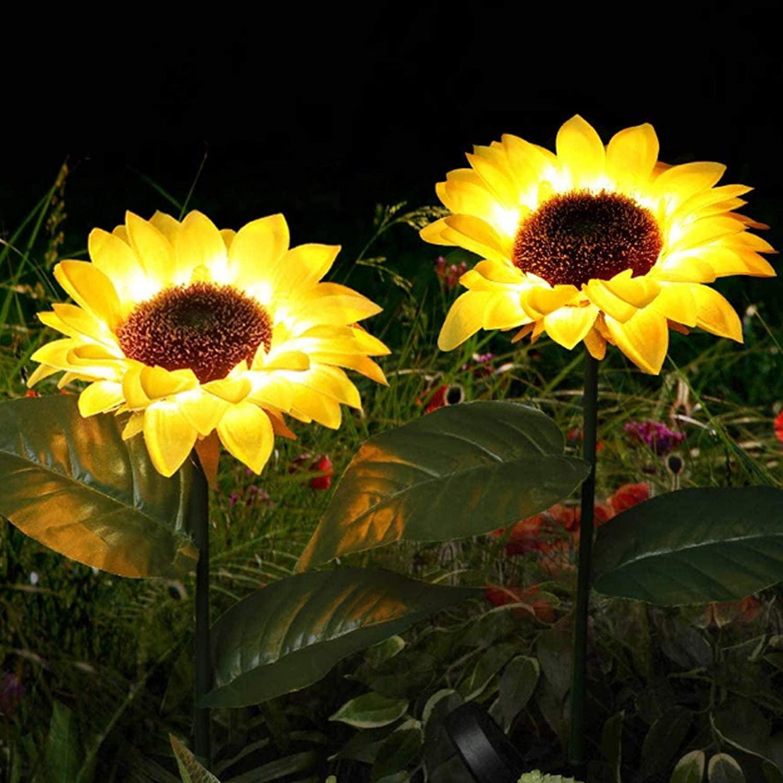 2 Pack Solar Power Lily Flower Light Garden Landscape Multi-Color LED Deco Lamp