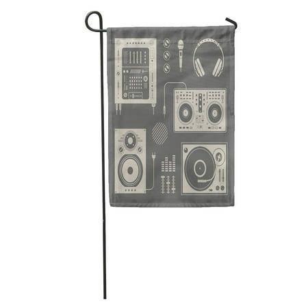 NUDECOR Music of Various Dj Mixer Record Equipment Speaker Vinyl Garden Flag Decorative Flag House Banner 12x18 inch - image 1 de 2