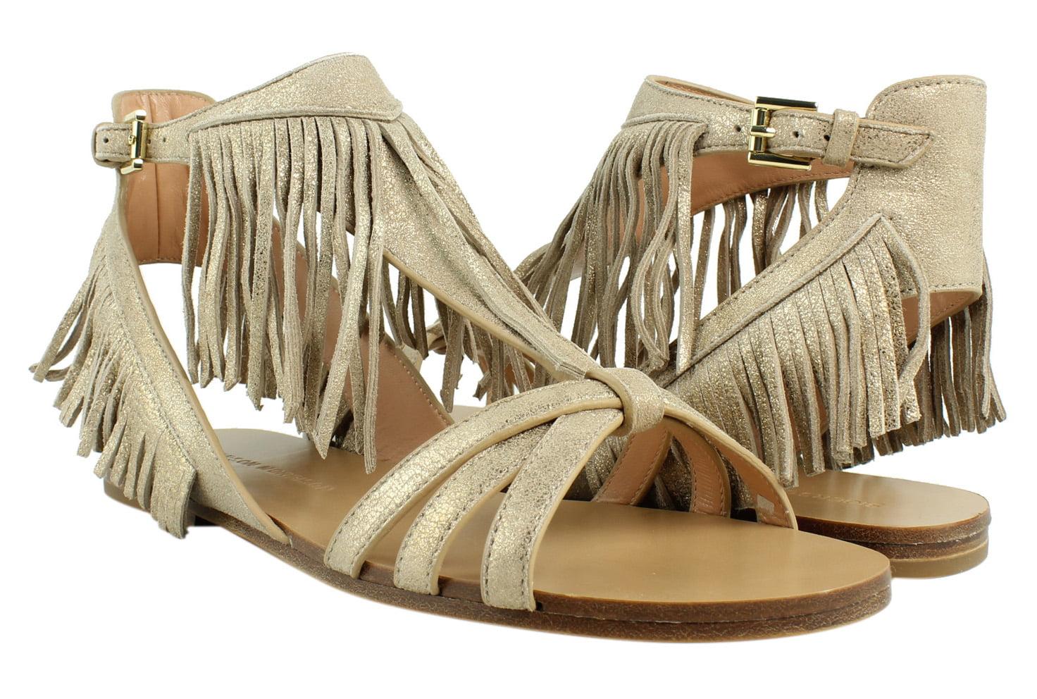 New Sigerson T-Strap Morrison Womens Bross LightGold T-Strap Sigerson Sandals Size 7.5 b6f4e3