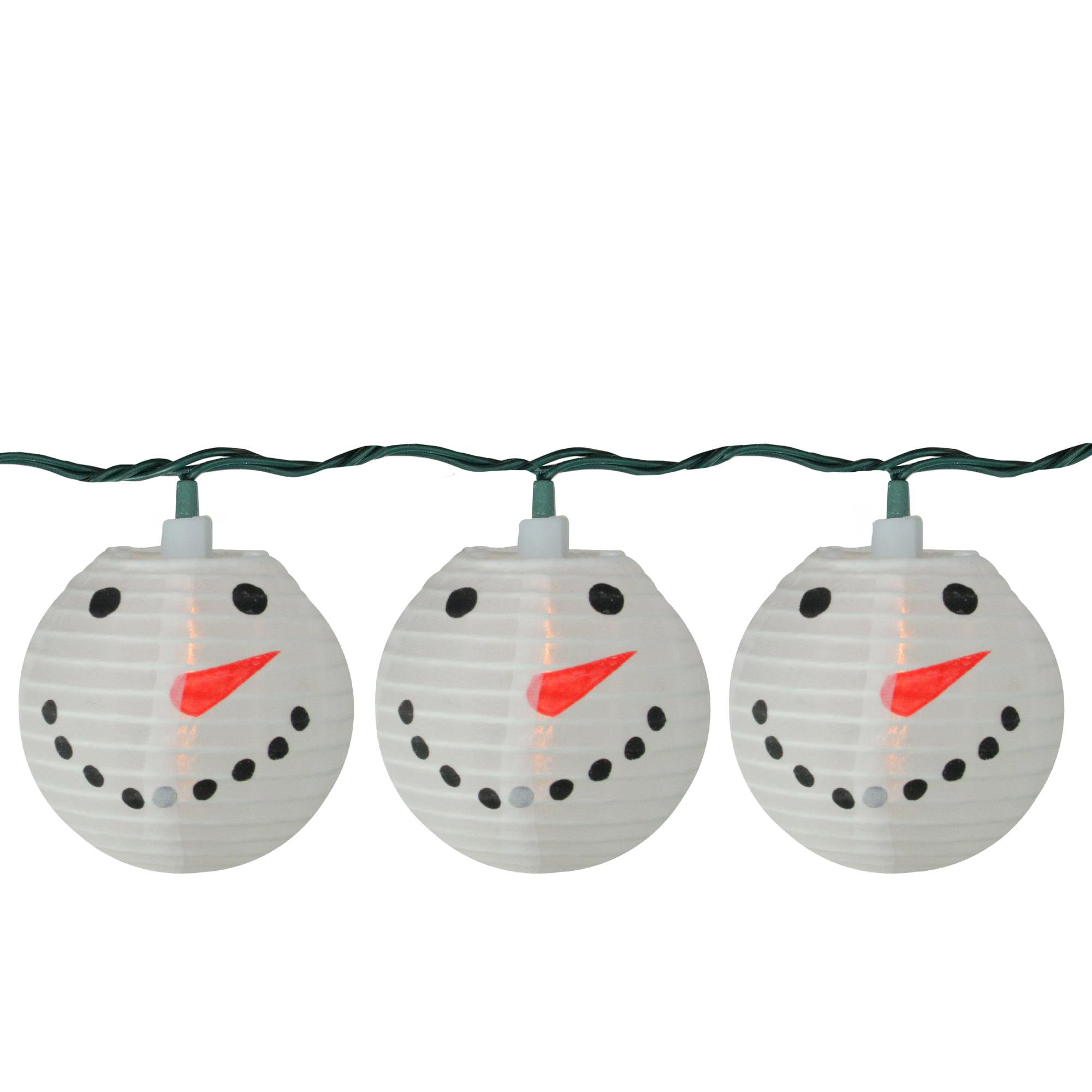 Set of 10 Snowman Lantern Christmas Novelty Christmas Lights - 10 ft White Wire