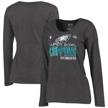 Philadelphia Eagles NFL Pro Line by Fanatics Branded Women's Super Bowl LII Champions Trophy Collection Locker Room Plus Size Long Sleeve T-Shirt - Heathered Charcoal