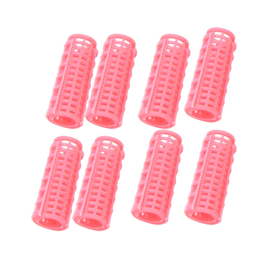 Unique Bargains 8 x Portable Lady Pink Plastic DIY Hairstyling Hair Curlers Rollers