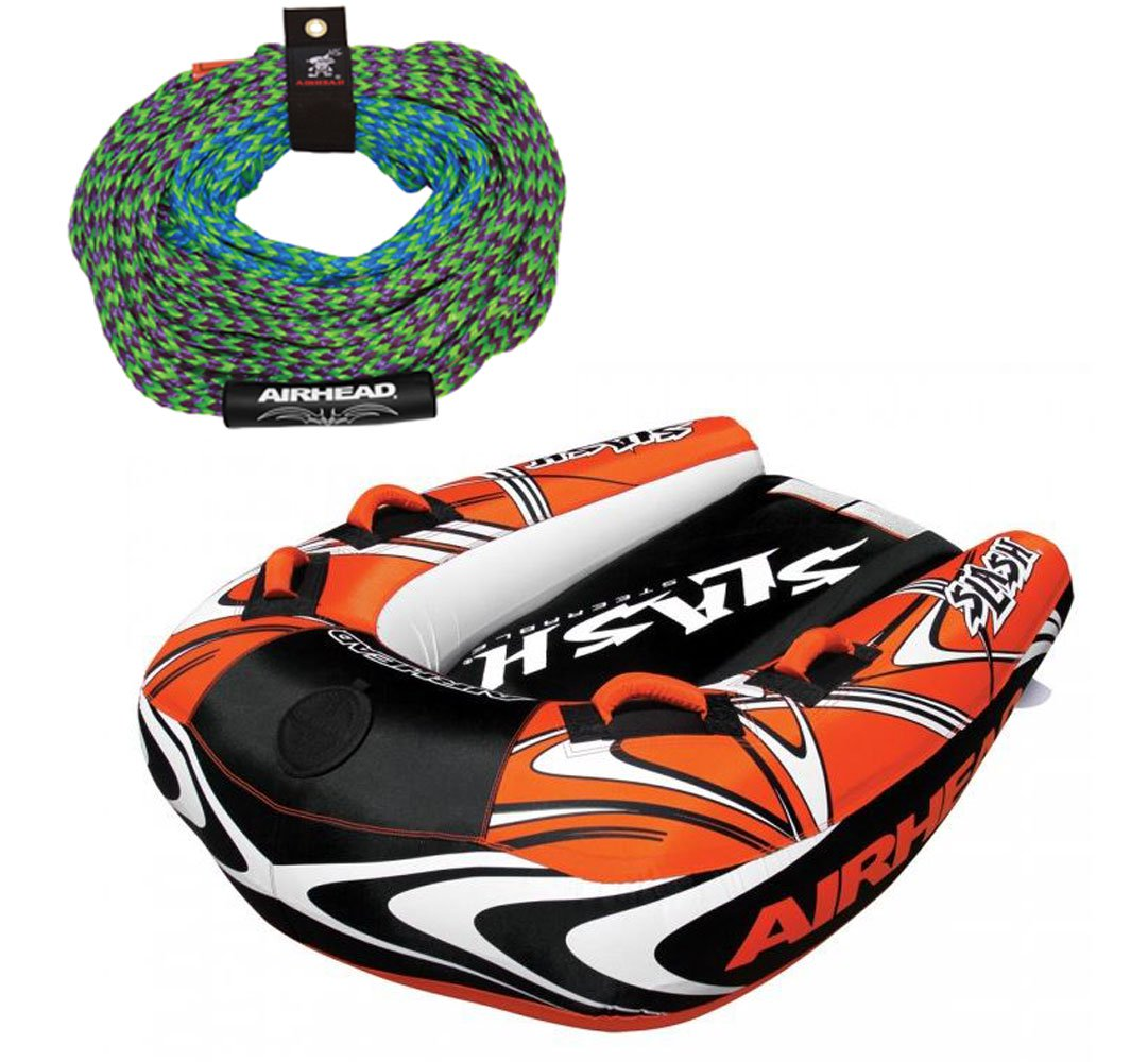 Airhead Slash II Double Rider Inflatable Boat + 60 Foot Tow Rope for Towables
