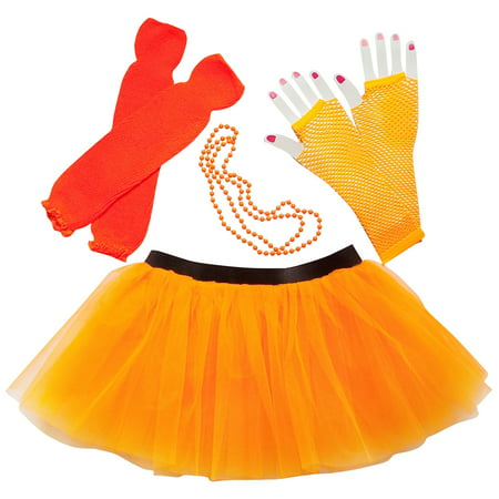 Neon Orange So Sydney Womens Teen 80's Costume & Accessories - Tutu, Leg Warmer,s Fishnet Gloves, & Beads (80's Themed Couples Halloween Costumes)