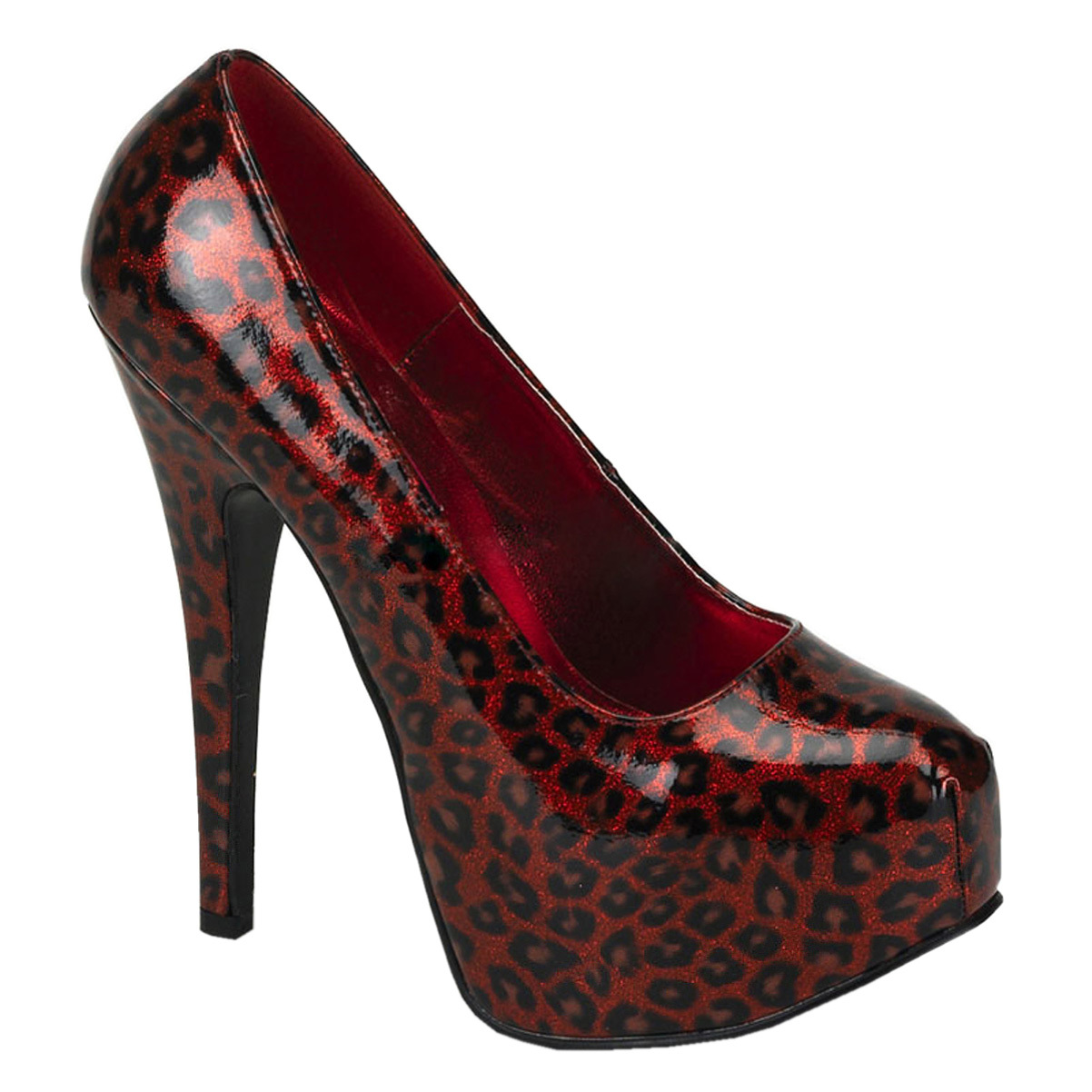 Bordello Womens Animal Print Pumps 5 3/4 Inch Heel Metall...