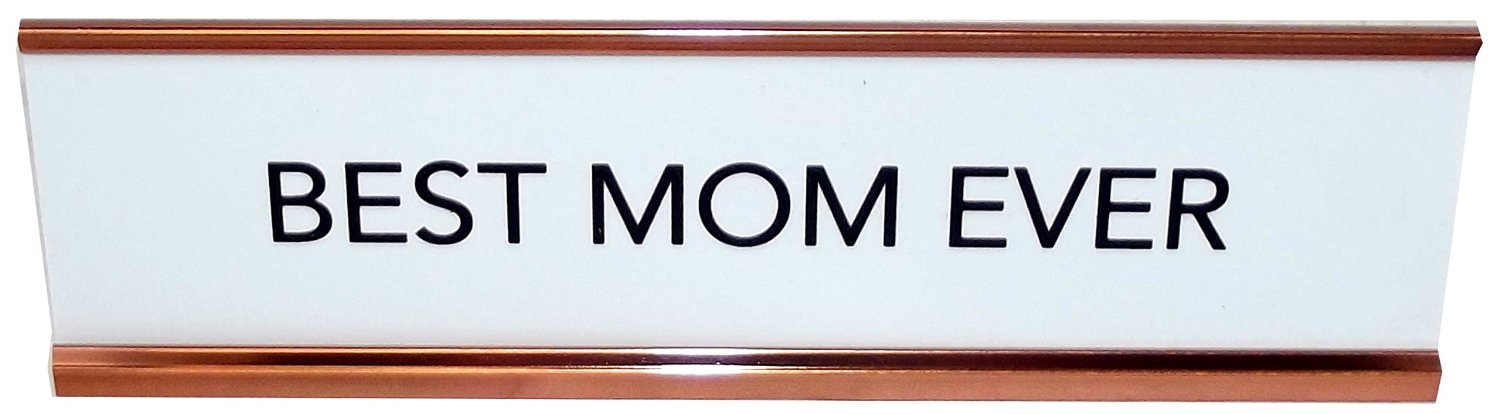 Aahs Engraving Best Mom Ever Nameplate Style Desk Sign (White) by