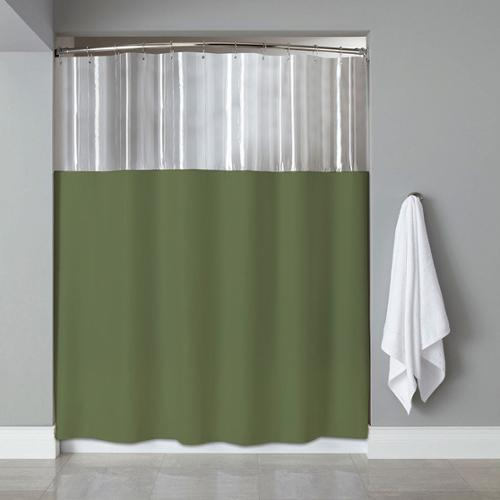 bed bath n more Anti-bacterial/ Microbial Mildew Resistant 'See-through Top' Clear/ Sage Shower Curtain