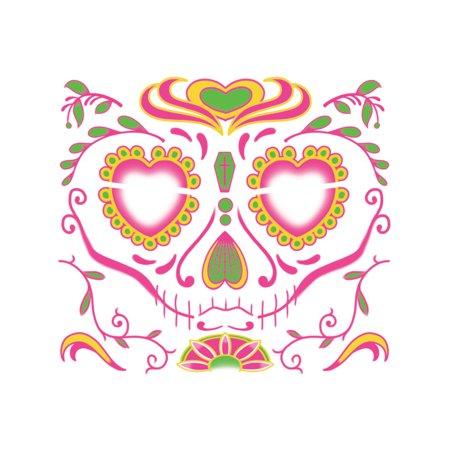 Dia De Los Muertos Tattoos (Dia De Los Muertos Sugar Skull Women's Face Tattoo Costume)